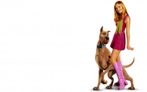 кино фильмы, scooby-doo, шарф, улыбка, блондинка, скуби-ду, сапоги, костюм, актриса, сара, мишель, геллар, собака