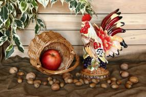 обои для рабочего стола 3000x2000 еда, натюрморт, яблоки, корзина, орехи, листья, фигурка, петух