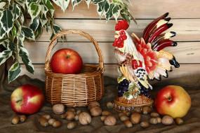 еда, натюрморт, яблоки, корзина, орехи, листья, фигурка, петух
