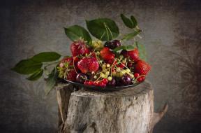 еда, фрукты,  ягоды, ягоды, смородина, клубника, миска, много