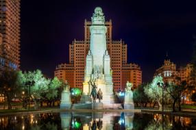 памятник, ночь, огни