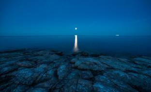 небо, берег, ночь, камни, луна, море