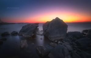 закат, озеро