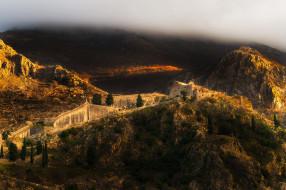 kotor castle in the clouds, города, - панорамы, ночь, бухта