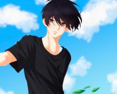 аниме, fujiwara-kun wa daitai tadashii, парень