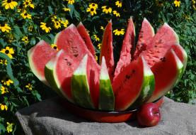 еда, арбуз, корона, венец, яблоко, цветы, лето