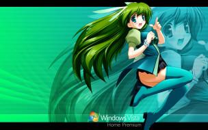 компьютеры, windows vista, windows longhorn, взгляд, девушка, фон