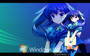 компьютеры, windows vista, windows longhorn, фон, взгляд, девушка