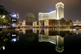 venetian hotel resort & casino in macau,  china, города, макао , китай, огни, ночь