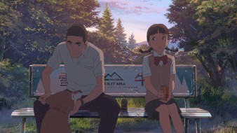аниме, kimi no na wa, взгляд, фон, девушка