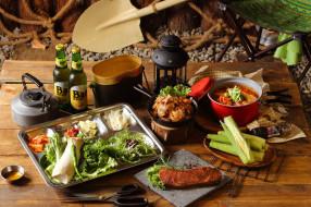 еда, разное, ассорти, овощи, мясо, пиво