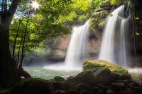 природа, водопады, водопад, деревья, вода