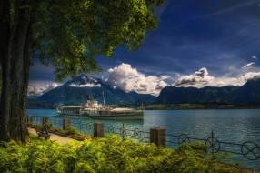 корабли, пароходы, река, лес