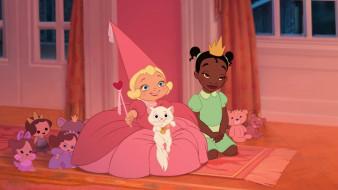 мультфильмы, the princess and the frog, девочки, кошка, игрушки, платье