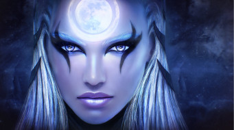 видео игры, league of legends, diana, league, of, legends, art, красота, лицо, девушка, scorn, the, moon