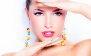 девушки, -unsort , лица,  портреты, model, hands, pose, female, makeup