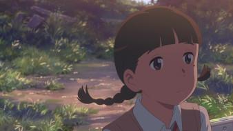 аниме, kimi no na wa, девушка, фон, взгляд