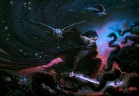 человек, сон, сова, ночь, фантазия, небо, меч, капюшон, затмение, тьма, луна, розы, облака, цветы