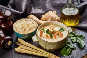 еда, первые блюда, суп, имбирь, рис, креветки