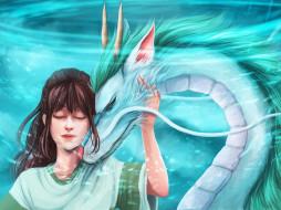 аниме, spirited away, chihiro, haku, spirited, away, девочка, фэнтези, дракон