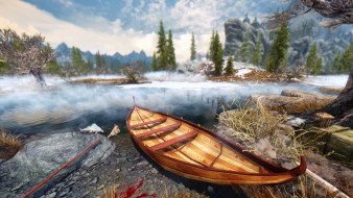 видео игры, the elder scrolls v,  skyrim, туман, берег, природа, лодка, река, деревья, камни