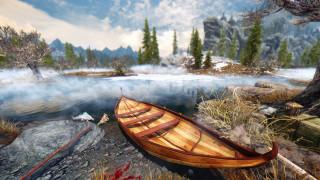 камни, деревья, река, лодка, природа, берег, туман
