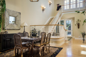 столовая, лестница, стол, стиль, стулья, дизайн