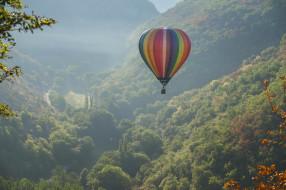 воздушный шар, полёт, монгольфьер, Rocamadour, аэростат, France, Франция, Рокамадур, долина, панорама, горы
