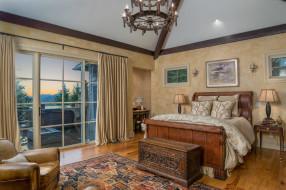 интерьер, спальня, постель, окно, кровать, картины