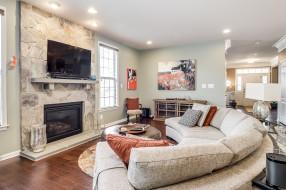 интерьер, гостиная, подушки, камин, дизайн, диван