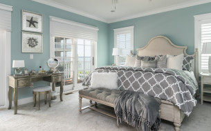 интерьер, спальня, постель, кровать, стол, дизайн