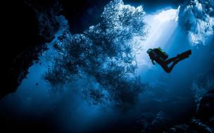 под водой, дайвинг, дайвер, океан, человек, водолаз, море, вода