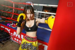 спорт, бокс, девушка, взгляд, фон