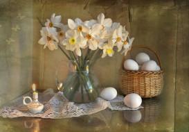 праздничные, пасха, цветы, букет, апрель, натюрморт, праздник, композиция, весна, нарциссы