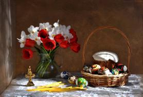 праздничные, пасха, весна, тюльпаны, натюрморт, праздник, кулич, композиция, нарциссы, цветы, апрель, букет