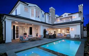 дом, Newport Beach, США, бассейн, вечер, интерьер, вилла, огни, дизайн
