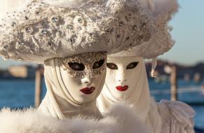 карнавал, Венеция, маски, шляпы, костюмы