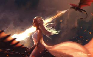 арт, полёт, игра престолов, дракон