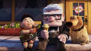 мальчик, значки, дедушка, собака, очки, мороженое