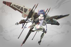 обои для рабочего стола 3000x2000 аниме, оружие,  техника,  технологии, girl, gun, spear, seifuku, japanese, anime, suit, rifle, blade, weapon, mecha