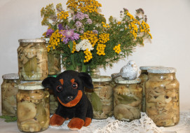 птичка, собака, цветы, грибы, букет