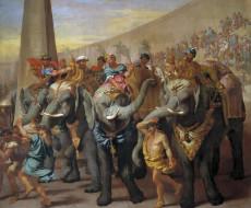обои для рабочего стола 1920x1591 рисованное, живопись, картина, жанровая, andrea, di, leone, слоны, в, цирке