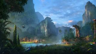 фэнтези, пейзажи, река, горы, животные