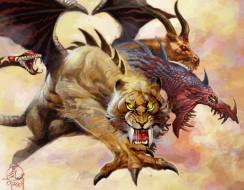 фэнтези, существа, wings, tora, tusks, tiger, chimera, predator, dragon, mythology, goat, claws, scales, monster, snake, lion