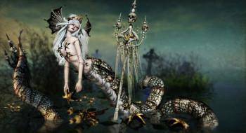 фэнтези, существа, snake, skull, by, kynne, mythologic, lamia, monster