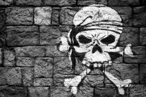 разное, граффити, рисунок, кости, череп, стена