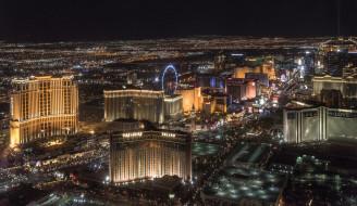 пейзаж, город, дома, огни ночного города, Las Vegas