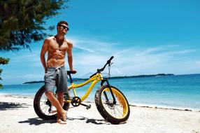 мужчины, - unsort, пляж, велосипед