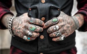разное, руки, тату, браслеты, перстни