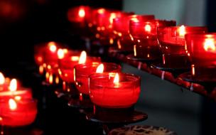 подсвечники, много, огоньки, свечи